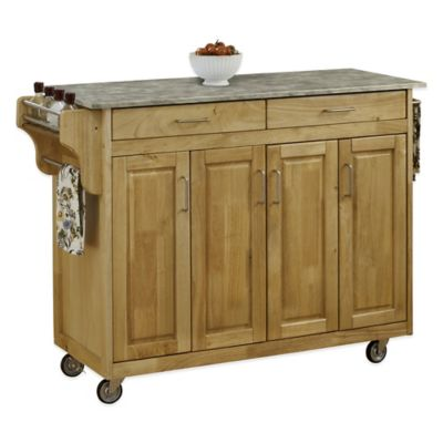 Home Styles 4-Door Create-a-Cart with Concrete Top in Natural