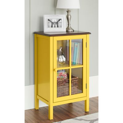 Chatham House Baldwin Single Door Glass Cabinet in Yellow