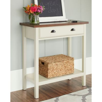 Chatham House Newport Console Table with Drawer in Ivory