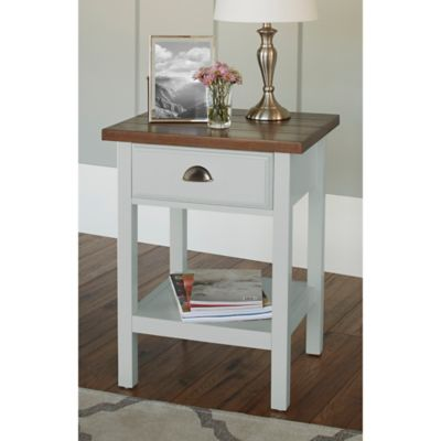 Chatham House Newport Accent Table with Drawer in Ivory