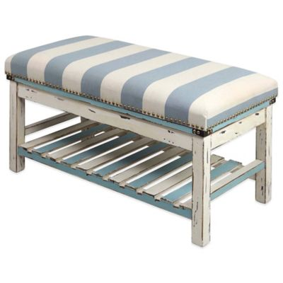 32-Inch x 18-Inch Striped Cabana Ottoman in Blue/White
