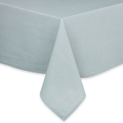 Pre-Washed 70-Inch Round Cotton/Linen Tablecloth in Aqua