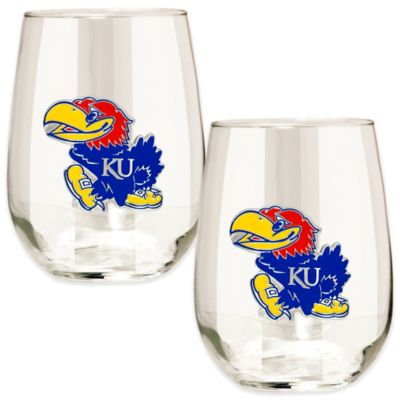 University of Kansas Stemless Wine Glass (Set of 2)