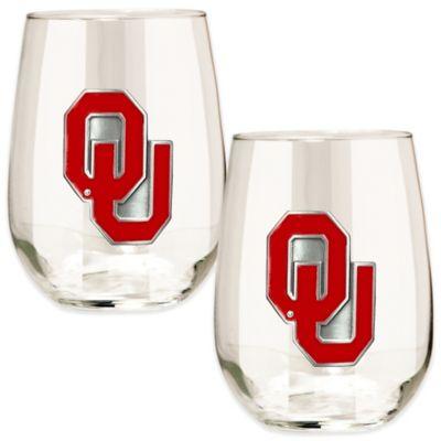 University of Oklahoma Stemless Wine Glass (Set of 2)