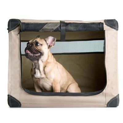 Dogs Digs Small Patented Collapsible Travel Crate in Tan