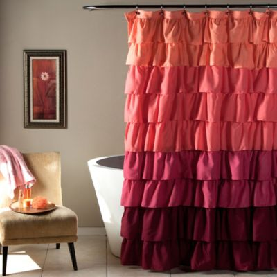 Ruffle Shower Curtain in Peach/Plum