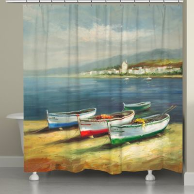 Laural Home® Boats on the Beach Shower Curtain