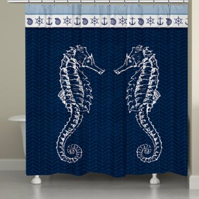 Laural Home® Seahorses Shower Curtain in Blue