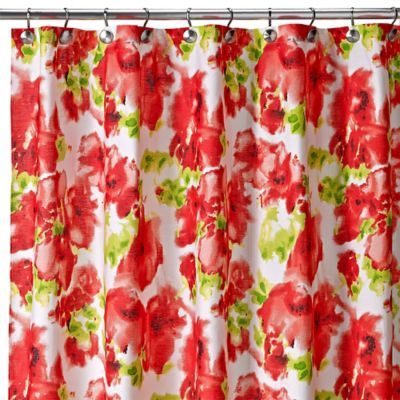 Painted Poppy Shower Curtain in Red