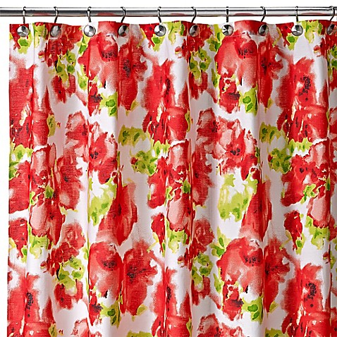 Painted Poppy Shower Curtain in Red Bed Bath & Beyond