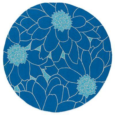 Kaleen Home & Porch Floral 7-Foot 9-Inch Round Indoor/Outdoor Rug in Blue