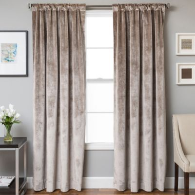 Velvet Rod Pocket/Back Tab 108-Inch Lined Window Curtain Panel in Quartz