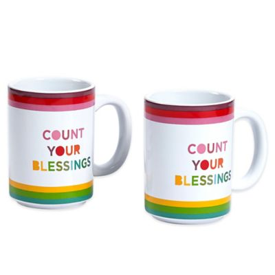 "Novogratz Collection ""Count Your Blessings"" Mugs (Set of 2)"
