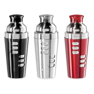 Oggi™ Stainless Steel 8-Recipe Cocktail Shaker in Red