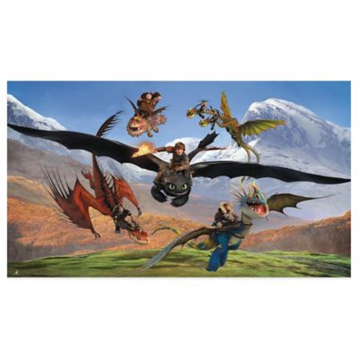 """How to Train Your Dragon"" 6-Foot x 10.5-Foot Chair Rail Prepasted Mural"