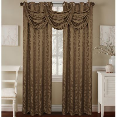 Constance Textured Jacquard Waterfall Valance in Chocolate