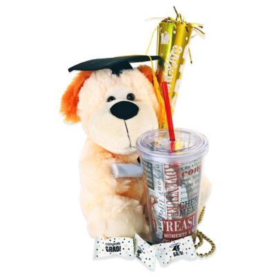 Alder Creek Here's to the Graduate Plush Dog and 16 oz. Tumbler Gift Set