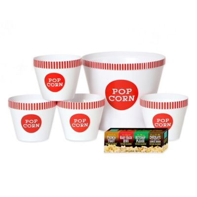 Popcorn Seasonings and Classic Striped Serving Bucket Set in White/Red