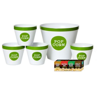 Popcorn Seasonings and Serving Bucket Set in White/Lime