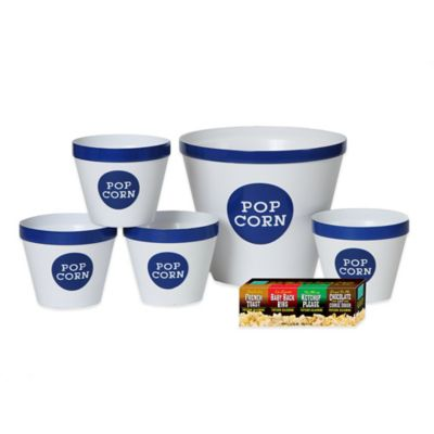 Popcorn Seasonings and Serving Bucket Set in White/Royal Blue