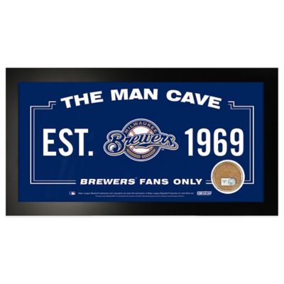 MLB Milwaukee Brewers Small Framed Man Cave Sign