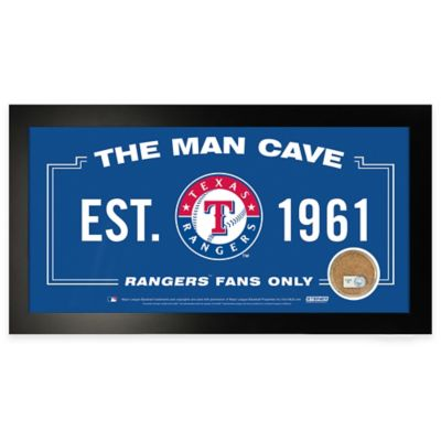 MLB Texas Rangers Large Framed Man Cave Sign