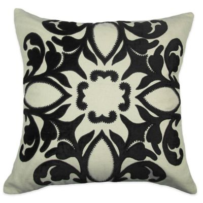 Bib Hand Embroidered Square Throw Pillow in Black