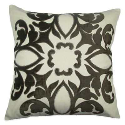 Bib Hand Embroidered Square Throw Pillow in Chocolate