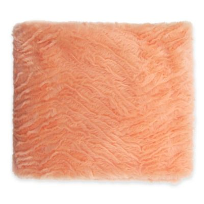 Zebra Textured Faux Fur Reversible Throw in Apricot