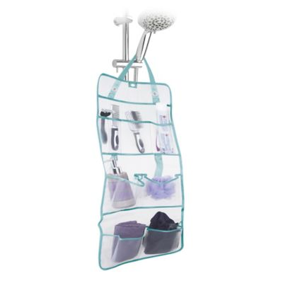 White/Silver Shower Totes and Bath Storage