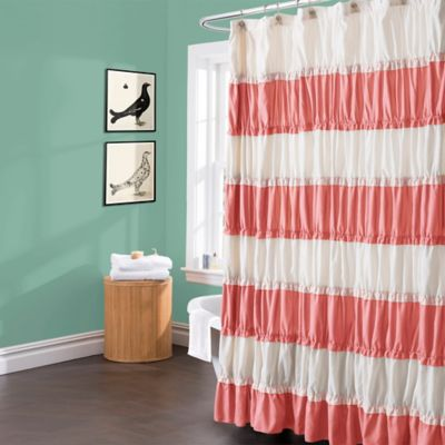 Isla Shower Curtain in Coral