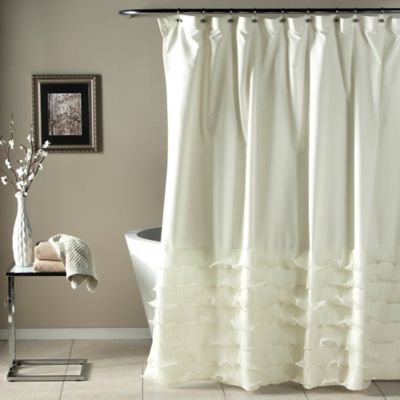 Avery Diaphanous Tier Shower Curtain in White