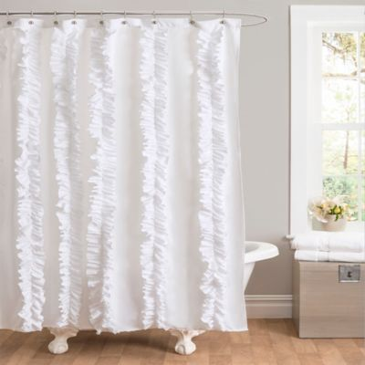 Belle Ruffle Shower Curtain in White