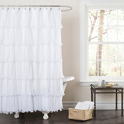 Buy Nerina Sheer Ruffle Shower Curtain In White From Bed