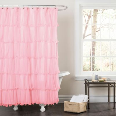 Nerina Sheer Ruffle Shower Curtain in Pink