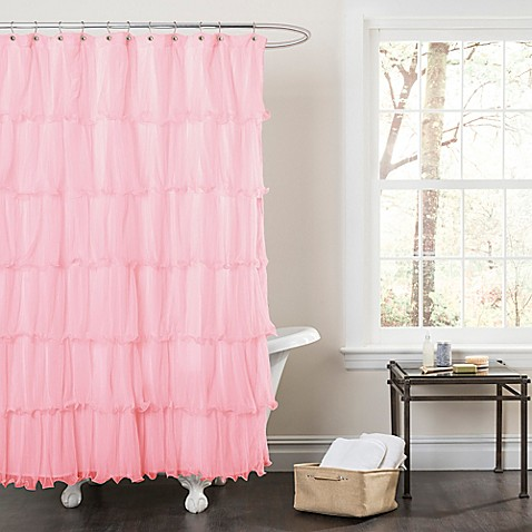 Buy Nerina Sheer Ruffle Shower Curtain In Pink From Bed Bath Beyond