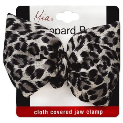 Mia® Leopard Bow Cloth Covered Jaw Clamp