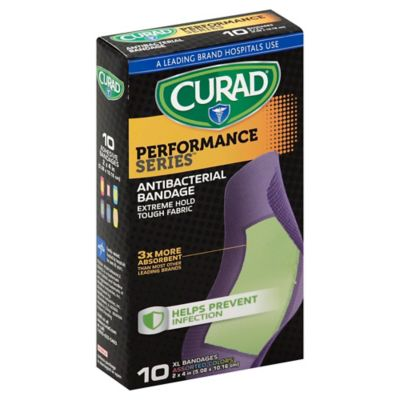 Curad® Performance Series™ 10-Count Extra Large Antibacterial Bandages in Assorted Colors