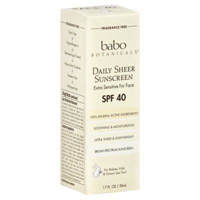 Babo Botanicals® Daily Sheer Facial Sunscreen Fragrance Free SPF 40