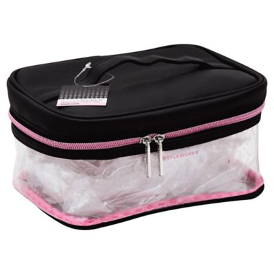 STYLEWURKS™ Clear Cosmetic Train Case with Black and Pink Trim
