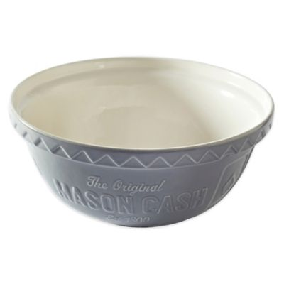 Mason Cash® Baker Street Ceramic 4.25-Quart Mixing Bowl in White/Grey