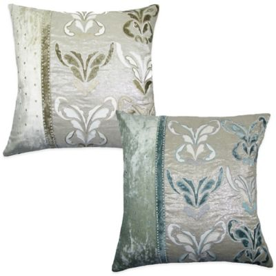 Boa Embroidered Square Throw Pillow in Blue