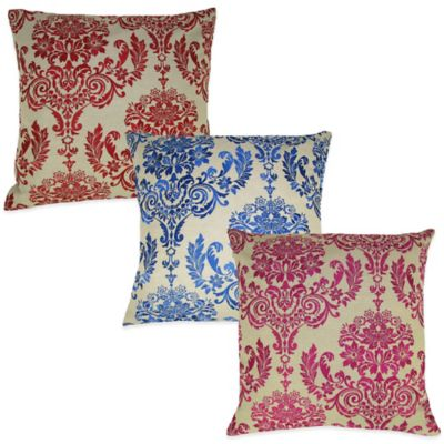 French Damask Embroidered Square Throw Pillow in Red