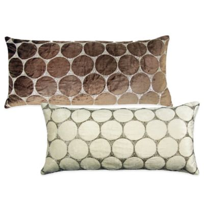 Bead Cutout Oblong Throw Pillow in Light Brown