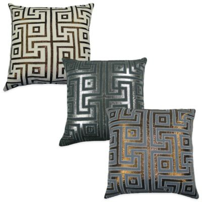 Lurex Key Square Throw Pillow in Grey