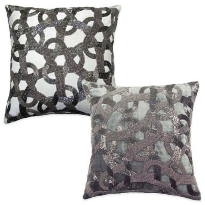 Dusk Square Beaded Throw Pillow in Ivory