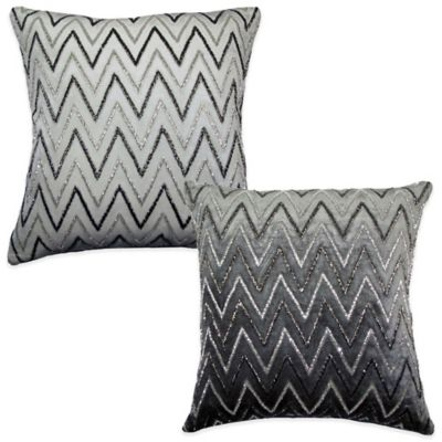 Amani Stripe Square Throw Pillow in Grey