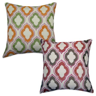 Tile Square Throw Pillow in Green