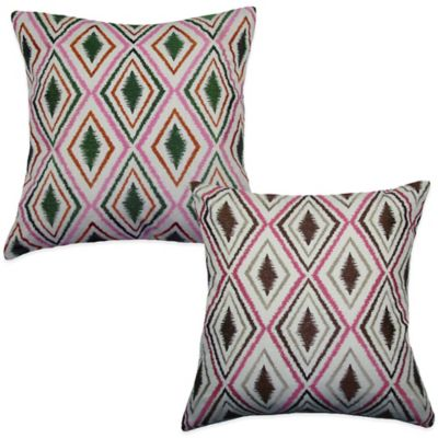 Ikat Tile Square Throw Pillow in Green