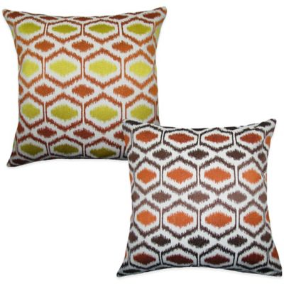 Ikat Dots Square Throw Pillow in Yellow/Orange